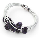 Dark Purple Heart Shape Rhinestone and White Leather Bracelet with Magnetic Clasp