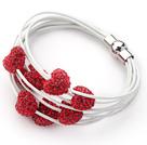 Red Color Heart Shape Rhinestone and White Leather Bracelet with Magnetic Clasp