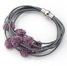 Purple Color Heart Shape Rhinestone and Gray Leather Bracelet with Magnetic Clasp