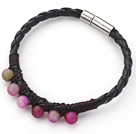 6mm Round Watermelon Chalcedony and Black Leather Bracelet with Magnetic Clasp