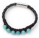 Wholesale 6mm Round Blue Jade and Black Leather Bracelet with Magnetic Clasp