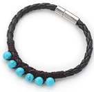6mm Round Blue Turquoise and Black Leather Bracelet with Magnetic Clasp