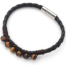 6mm Round Tiger Eye and Black Leather Bracelet with Magnetic Clasp