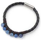 Wholesale 6mm Round Blue Agate and Black Leather Bracelet with Magnetic Clasp