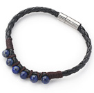 6mm Round Lapis Beads and Black Leather Bracelet with Magnetic Clasp