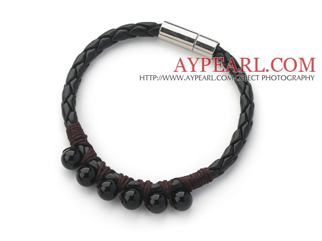 6mm Round Black Agate and Black Leather Bracelet with Magnetic Clasp