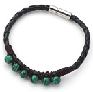 Wholesale 6mm Round Malachite and Black Leather Bracelet with Magnetic Clasp