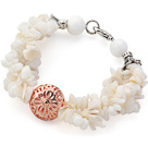 Wholesale White Series White Shell Chips and White Sea Shell Bracelet with Golden Rose Color Ball