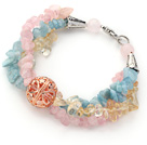 Assorted Aquamarine and Citrine and Rose Quartz Bracelet with Golden Rose Color Ball