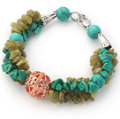 Wholesale Assorted Green Turquoise and South Korea Jade Bracelet with Golden Rose Color Ball