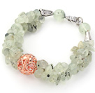 Wholesale Light Green Series Prehnite Chips Bracelet with Golden Rose Color Ball