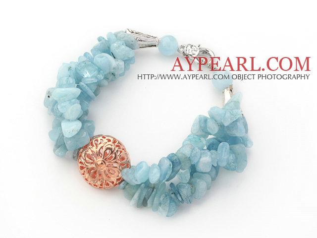 Light Blue Series Aquamarine Chips Bracelet with Golden Rose Color Ball