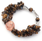Wholesale Brown Series Tiger Eye Chips Bracelet with Golden Rose Color Ball