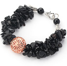 Wholesale Black Series Black Agate Chips Bracelet with Golden Rose Color Ball