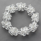 White Series Faceted 8-10mm Clear Crystal Stretch Bracelet