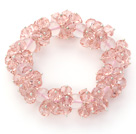 Wholesale Pink Series Faceted 8-10mm Pink Crystal and Rose Quartz Stretch Bracelet
