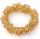Wholesale Yellow Series Faceted 8-10mm Citrine and South Korea Jade Stretch Bracelet