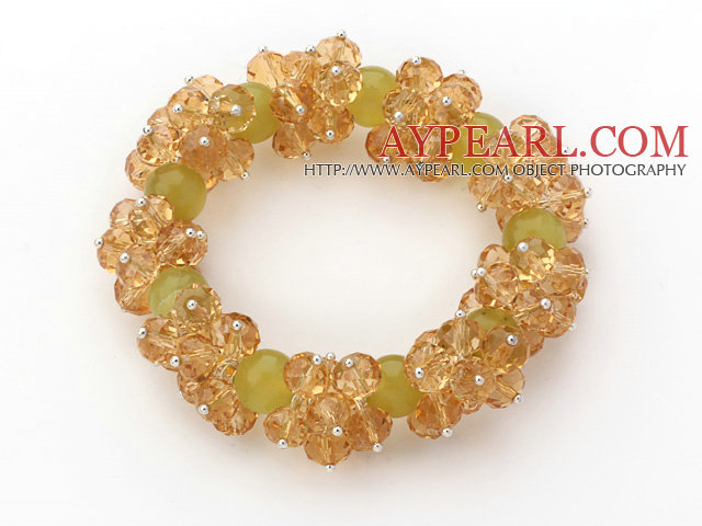 Yellow Series Faceted 8-10mm Citrine and South Korea Jade Stretch Bracelet