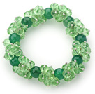 Green Series Faceted 8-10mm Green Crystal and Green Agate Stretch Bracelet