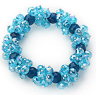 Wholesale Sky Blue Series Faceted 8-10mm Blue Crystal and Dark Blue Agate Stretch Bracelet