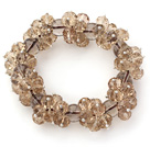 Wholesale Champagne Color Faceted 8-10mm Crystal and Smoky Quartz Stretch Bracelet