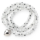 White Round Eye Shape Colored Glaze Three Times Wrap Bracelet with Metal Heart Accessory
