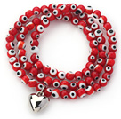 Red Round Eye Shape Colored Glaze Three Times Wrap Bracelet with Metal Heart Accessory