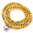 Wholesale Yellow Round Eye Shape Colored Glaze Three Times Wrap Bracelet with Metal Heart Accessory