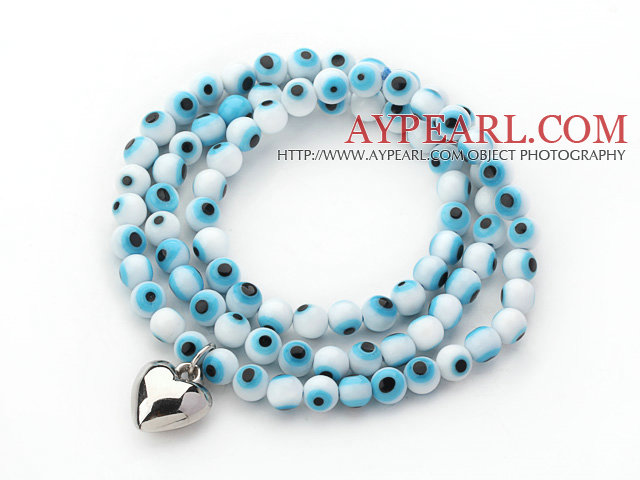 Blue and White Color Round Eye Shape Colored Glaze Three Times Wrap Bracelet with Metal Heart Accessory