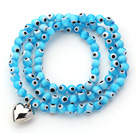 Sky Blue Color Round Eye Shape Colored Glaze Three Times Wrap Bracelet with Metal Heart Accessory
