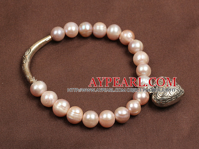 Simple Elegant Style 7-8Mm Natural Pink Freshwater Pearl Elastic/ Stretch Bracelet With Tibet Silver Heart And Tube Charm