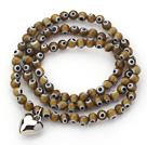 Dark Brown Round Eye Shape Colored Glaze Three Times Wrap Bracelet with Metal Heart Accessory