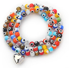 Multi Color Round Eye Shape Colored Glaze Three Times Wrap Bracelet with Metal Heart Accessory