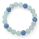 9-10mm Round Natural Aquamarine and Blue Rhinestone Ball Stretch Bracelet