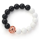 Wholesale Round Black Agate and White Porcelain Stone Stretch Bangle Bracelet with Golden Rose Color Ball