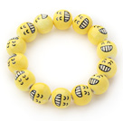 Gul Color Round Smile Face Porselen Beaded Stretch armbånd