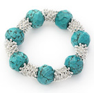 Wholesale Fashion Style Faceted Turquoise and Metal Spacer Accessories Stretch Bracelet