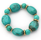 Wholesale Assorted Green Turquoise Beaded Stretch Bracelet with Golden Color Metal Spacer
