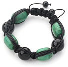 Wholesale Drum Shape Turquoise and Black Agate and Black Leather Woven Adjustable Drawstring Bracelet