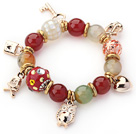 Wholesale Assorted Red Color Carnelian and Colored Glaze and Mosaics Shell Charm Stretch Bracelet
