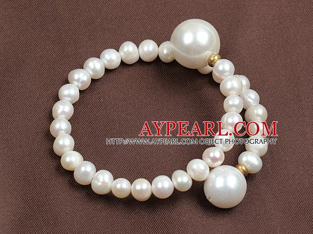 Trendy Elegant Natural White Freshwater Pearl Seashell Beads Bangle Bracelet
