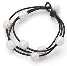 Multi Strands 10-11mm White Freshwater Pearl Leather Bracelet with Black Leather