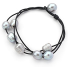 Multi Strands 10-11mm Gray Freshwater Pearl Leather Bracelet with Black Leather