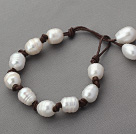 Single Strand 10-11mm White Freshwater Pearl Leather Bracelet with Coffee Brown Leather