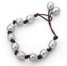Classic Design 10-11mm Gray Freshwater Pearl Leather Bracelet with Brown Leather