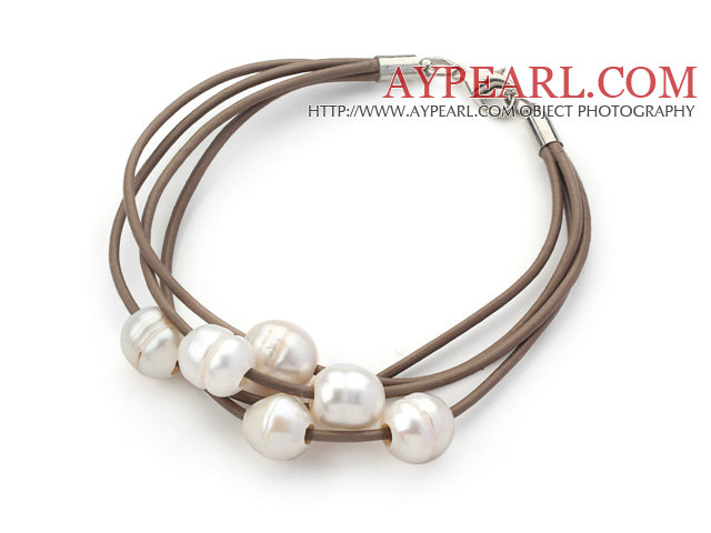 Multi Strands 10-11mm White Freshwater Pearl Leather Bracelet with Light Brown Leather
