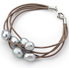 Multi Strands 10-11mm Gray Freshwater Pearl Leather Bracelet with Light Brown Leather