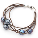 Multi Strands 10-11mm Black Freshwater Pearl Leather Bracelet with Light Brown Leather