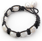 Fashion Style 10-11mm White Freshwater Pearl Wrapped Leather Bracelet with Black Leather