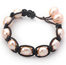 Wholesale Fashion Style 10-11mm Pink Freshwater Pearl Wrapped Leather Bracelet with Black Leather